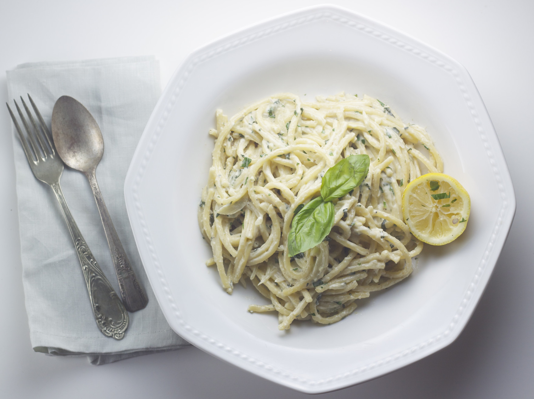 vegan cashew cream basil lemon pasta
