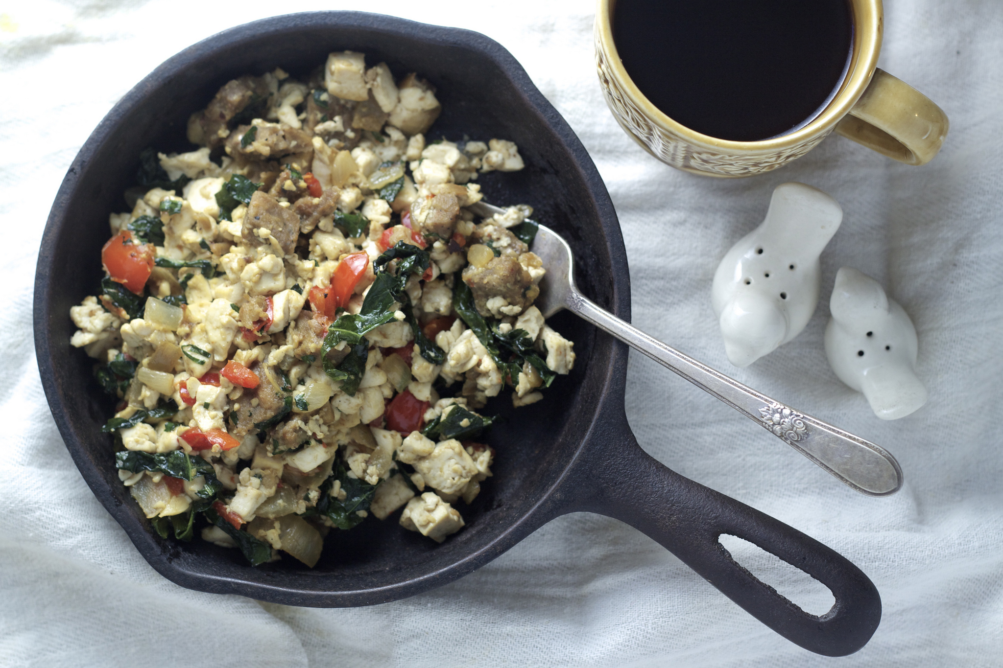 Vegan Vegetable and Sausage Tofu Scramble by the Bored Vegetarian